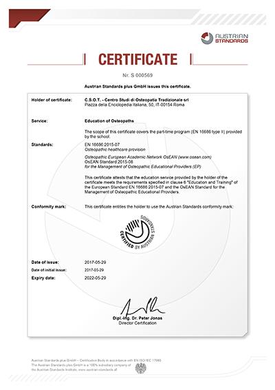 Certificate S 000569 csot roma