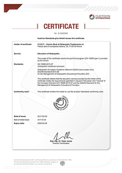 Certificate S 000569 csot roma